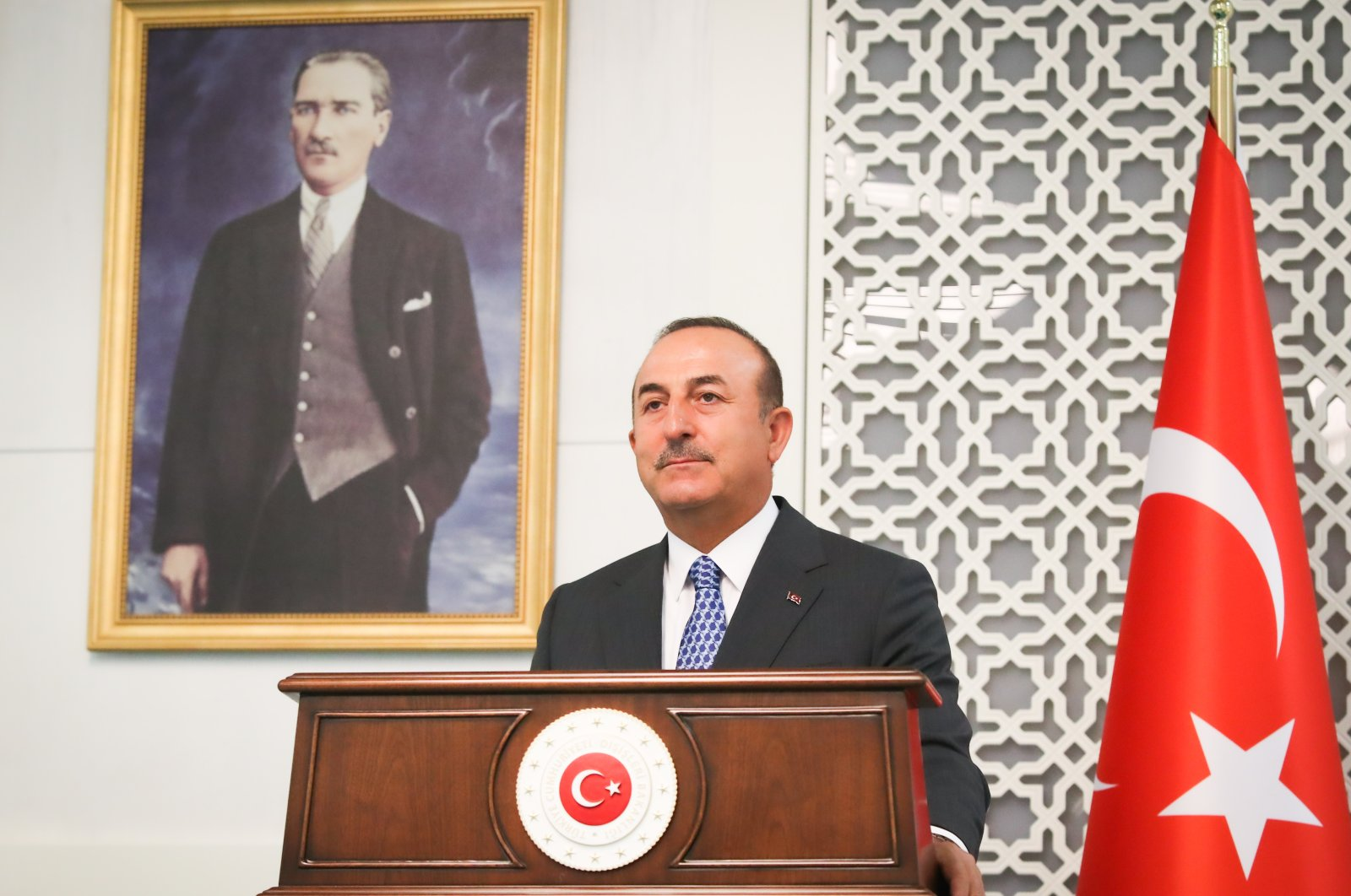 Foreign Minister Mevlüt Çavuşoğlu speaks at a joint press conference with his Maltese counterpart Evarist Bartolo, July 17, 2020. (AA)