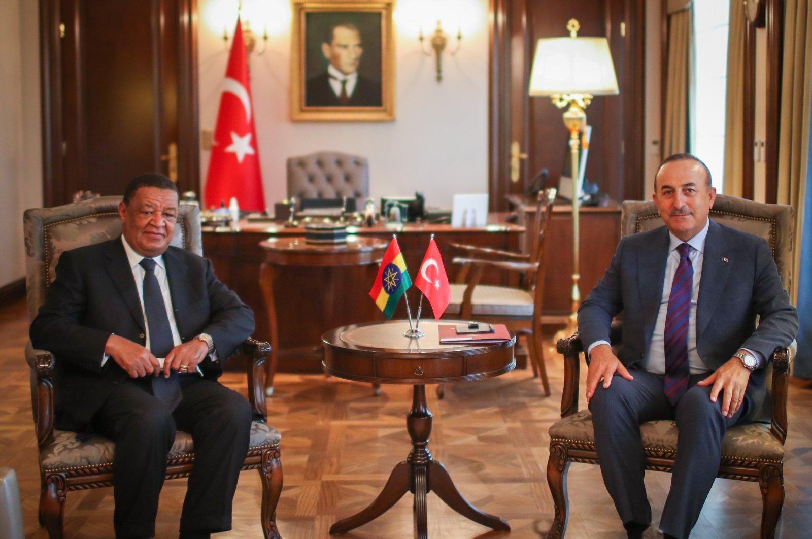 Foreign Minister Mevlüt Çavuşoğlu meets with Mulatu Teshome Wirtu, Ethiopia's former president and special representative of Prime Minister Abiy Ahmed, Ankara, Turkey, July 16, 2020. (AA Photo)