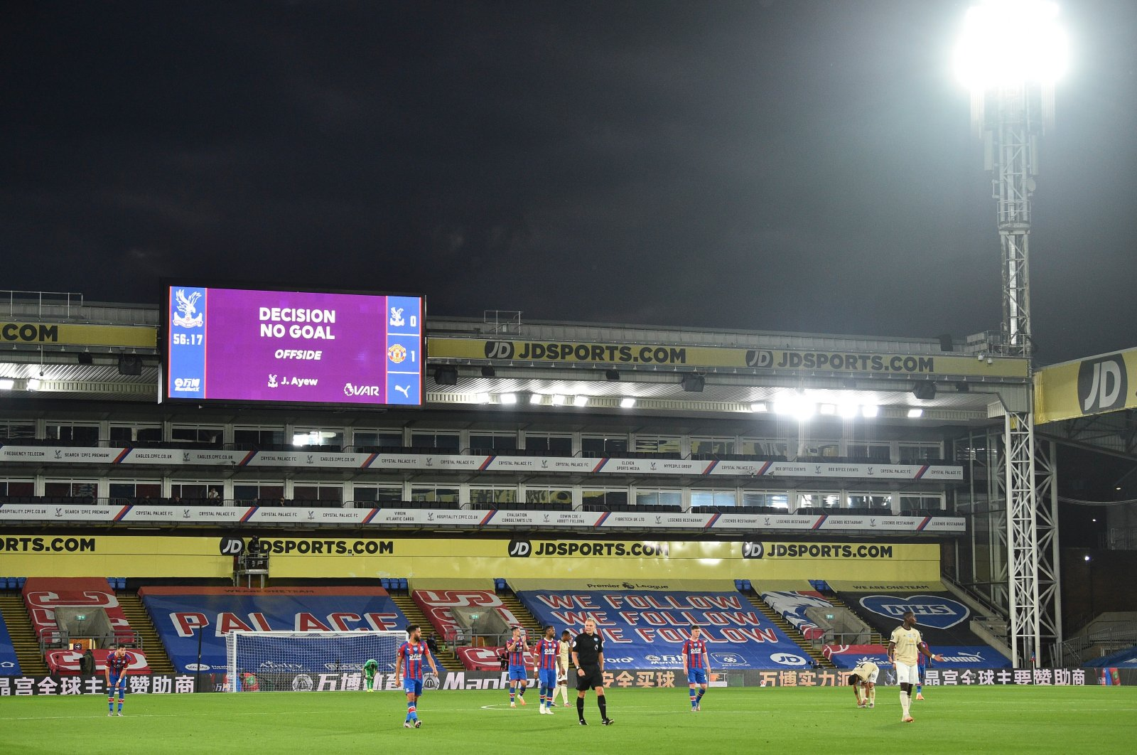 The scoreboard shows that a goal by Crystal Palace's Jordan Ayew has been disallowed by a VAR decision for offsides during the English Premier League football match between Crystal Palace and Manchester United at Selhurst Park in London, England, July 16, 2020. (AP Photo)