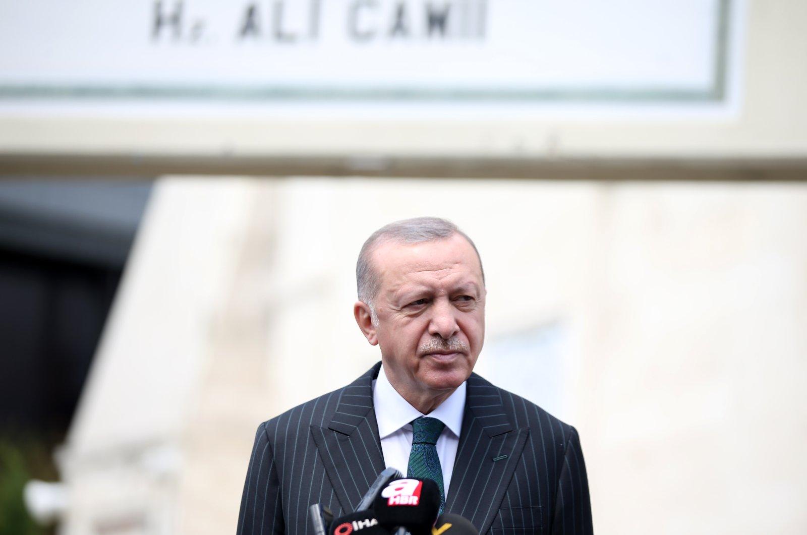 President Recep Tayyip Erdoğan answers reporters' questions following Friday prayers, Istanbul, Turkey, July 17, 2020. ( AA Photo)