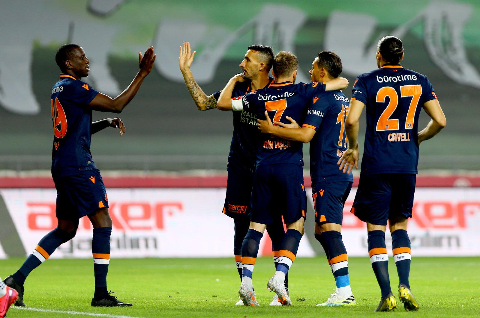 Başakşehir players celebrate a goal during a Süper Lig match against Konyaspor in Konya, Turkey, July 13, 2020. (AA Photo)