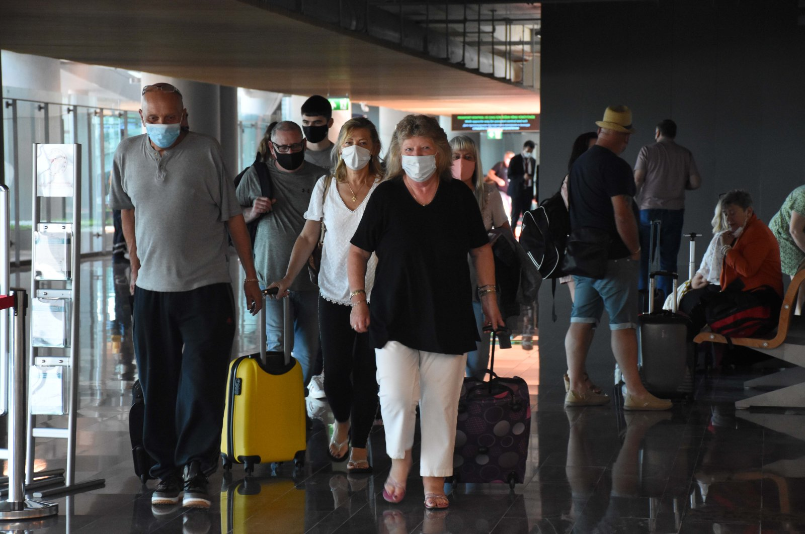 British tourists are seen arriving at Milas-Bodrum Airport in southern Turkey, July 17, 2020. (AA Photo)