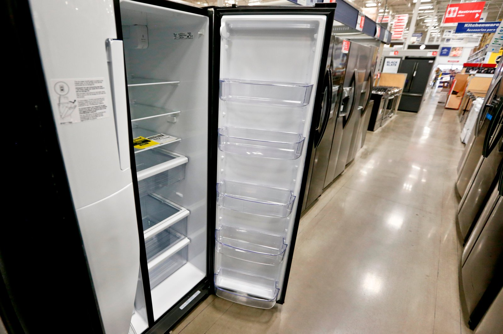 A selection of refrigerators is available for sale at a big box store in Cranberry Township, U.S., April 11, 2018. (AP Photo)