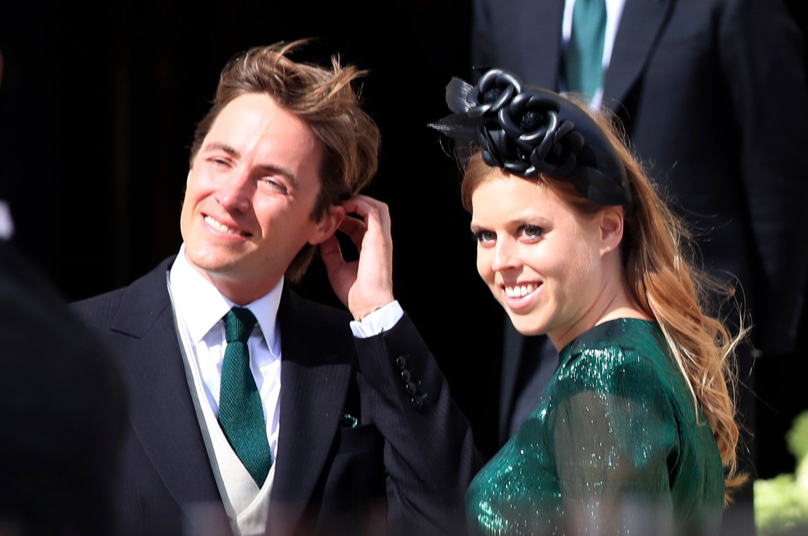 Britain's Princess Beatrice with her fiance, Edoardo Mapelli Mozzi, attend the wedding of Ellie Goulding and Caspar Jopling, in York, England, Aug. 31, 2019. (AP Photo)