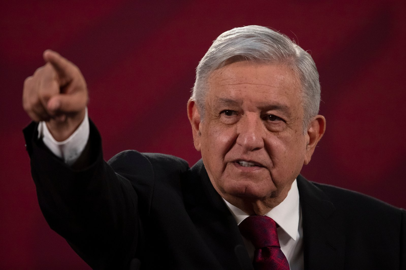 Mexico's President Andres Manuel Lopez Obrador gives his daily, morning news conference at the presidential palace, Palacio Nacional, in Mexico City, July 13, 2020. (AP Photo)