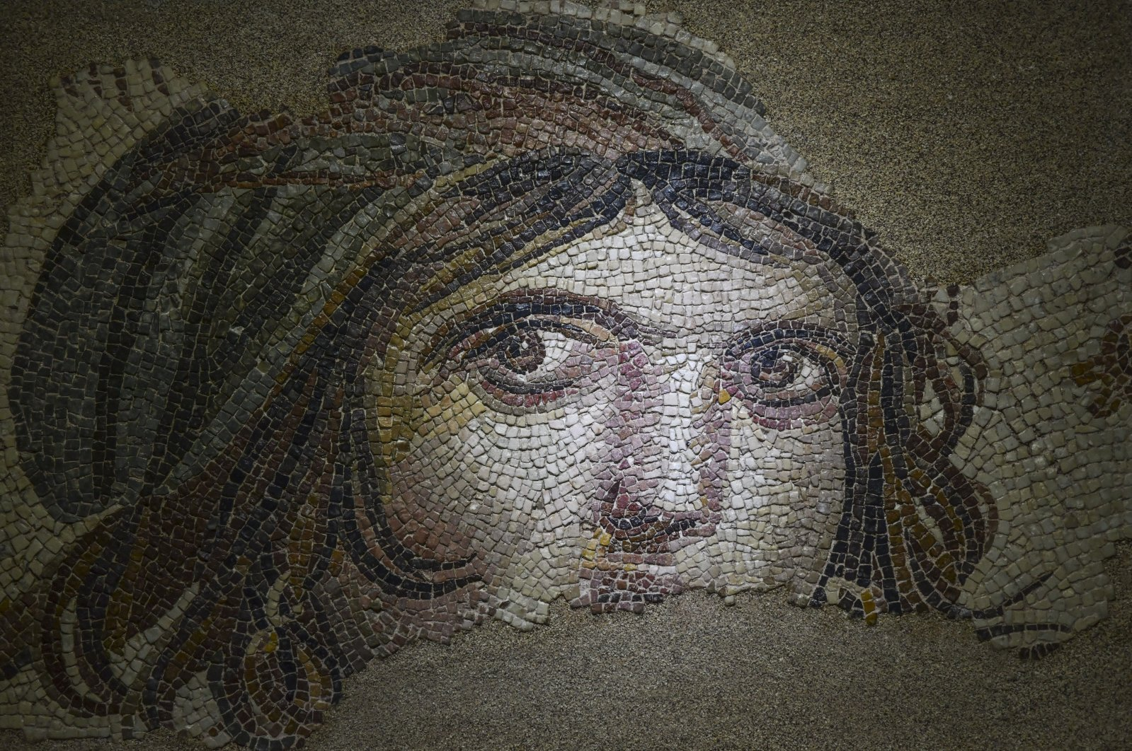 """This file photo shows the famed """"Gypsy Girl"""" mosaic, which was returned by the U.S. to Turkey after 52 years at Zeugma museum, Turkey, May 2018. (AA Photo)"""