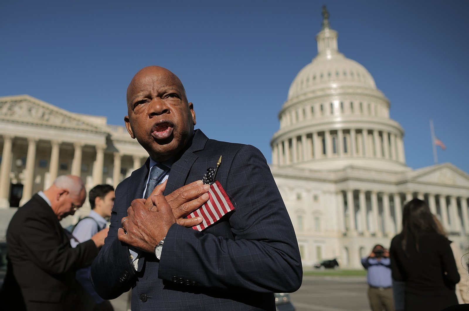 Rep. John Lewis (D-GA) thanks anti-gun violence supporters following a rally with fellow Democrats on the East Front steps of the U.S. House of Representatives October 4, 2017, in Washington, DC. (AFP Photo)