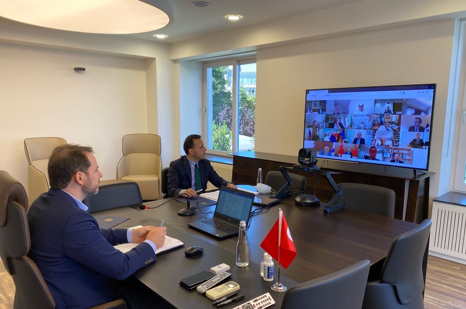 Turkish Minister of Finance Berat Albayrak attends a virtual meeting of G20 finance ministers and central bank governors in Ankara, Turkey July 18, 2020. (DHA Photo)