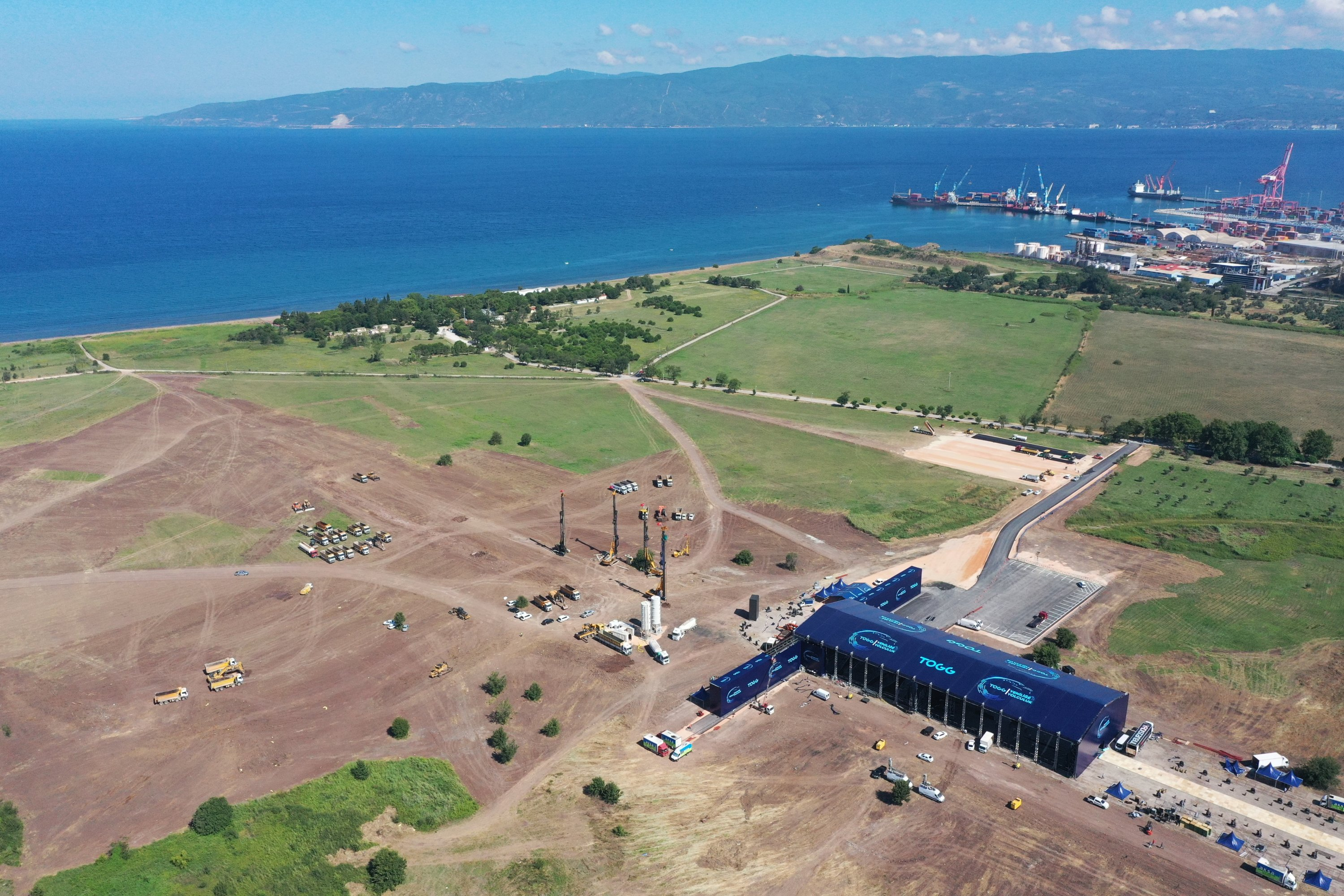 This drone photo shows the site for Turkey's indigenous car factory by the Bay of Gemlik. (AA Photo)