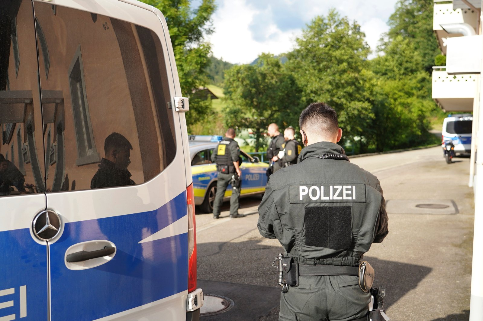 Emergency services and police block off the access to the Ramsbach district of Oppenau, Germany, July 17, 2020. (AP Photo)