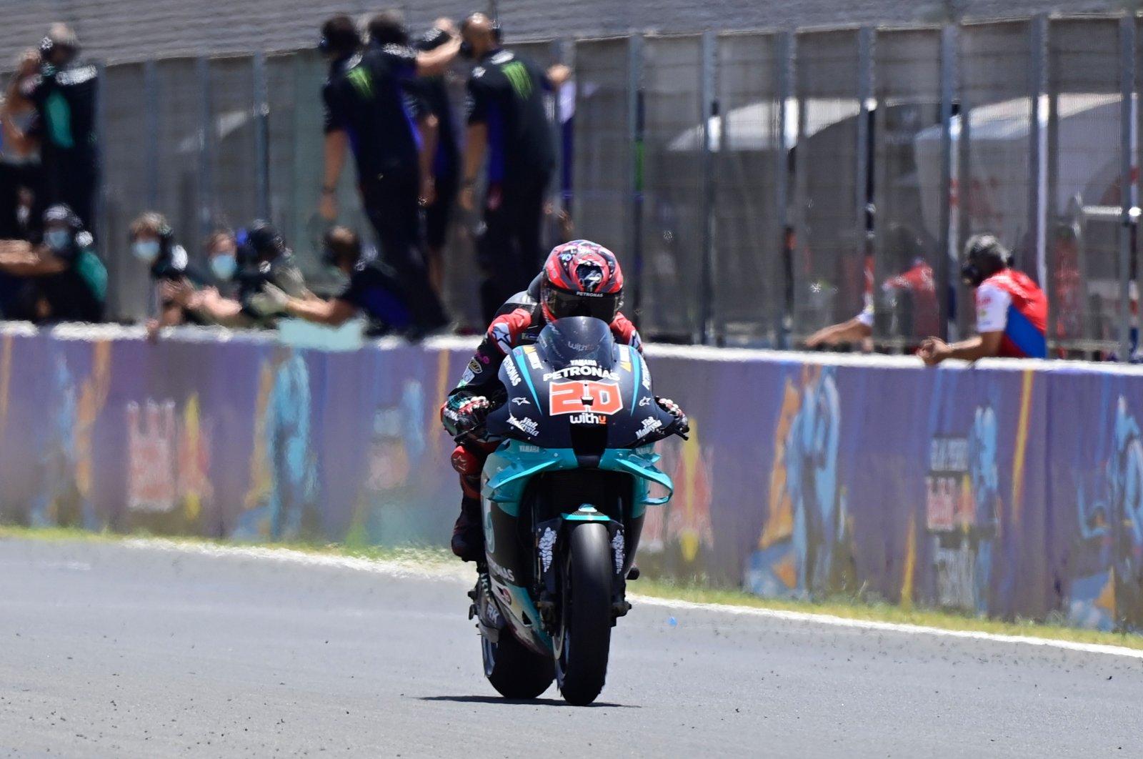 Fabio Quartararo rides to the finish line in Jerez de la Frontera, Spain, July 19, 2020. (AFP Photo)