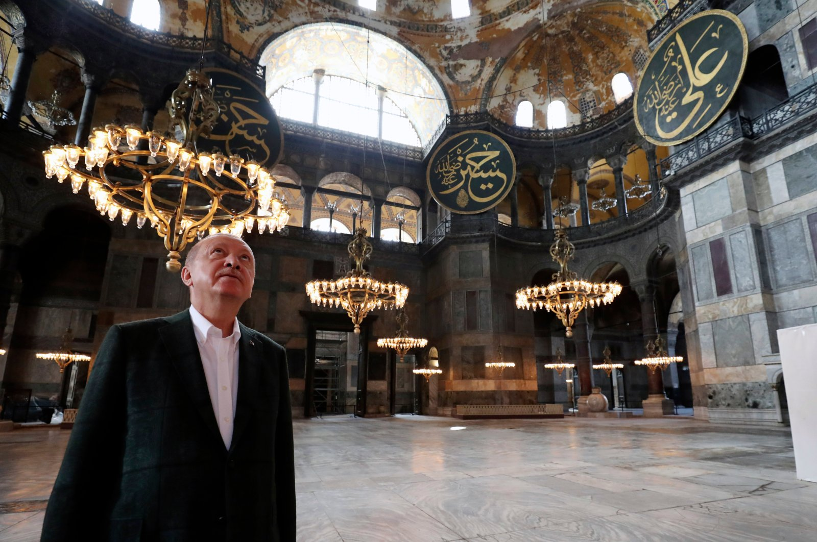 President Recep Tayyip Erdoğan visits the Hagia Sophia, one of Istanbul's main tourist attractions in the historic Sultanahmet district of Istanbul, July 19, 2020. (AP)