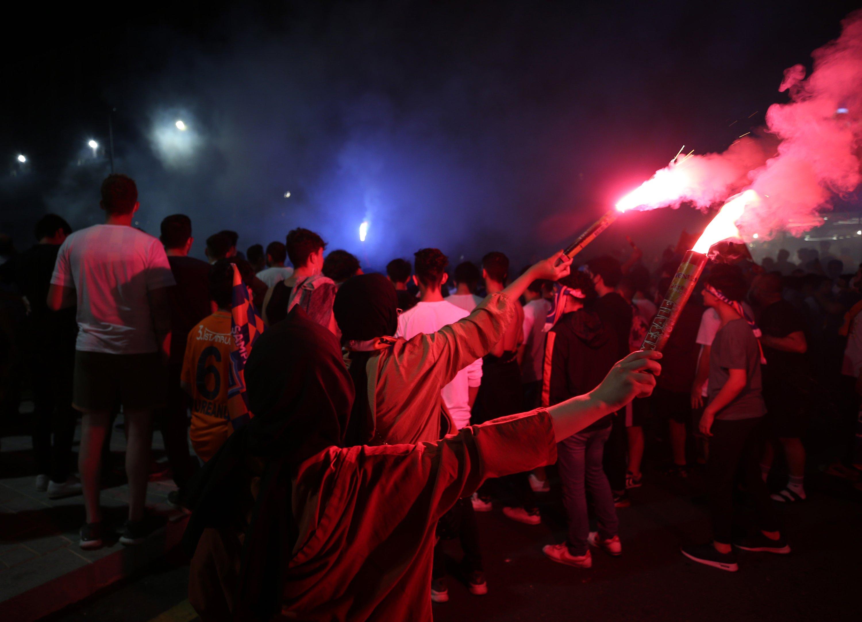 Fans celebrate Başakşehir's championship outside Fatih Terim Stadium in Istanbul, Turkey, July 19, 2020. (AA Photo)