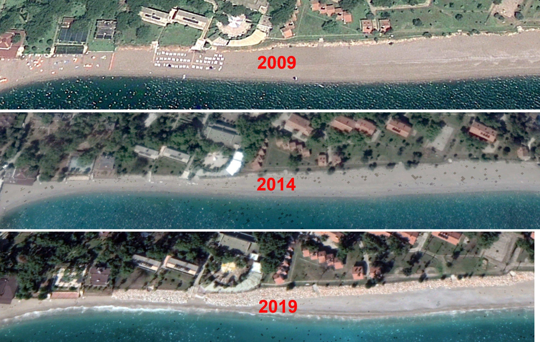 Satellite images show the receding Konyaaltı coastline over the last 10 years. (DHA Photo)