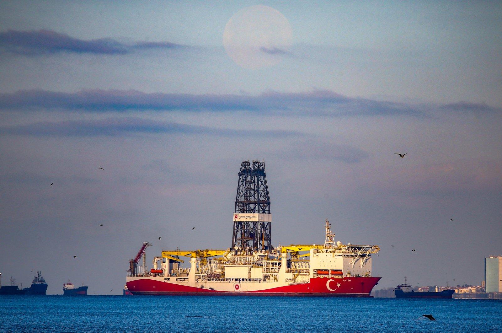 Turkey's Fatih drillship seen off the shores of Istanbul, Turkey, April 9, 2020. (AA Photo)