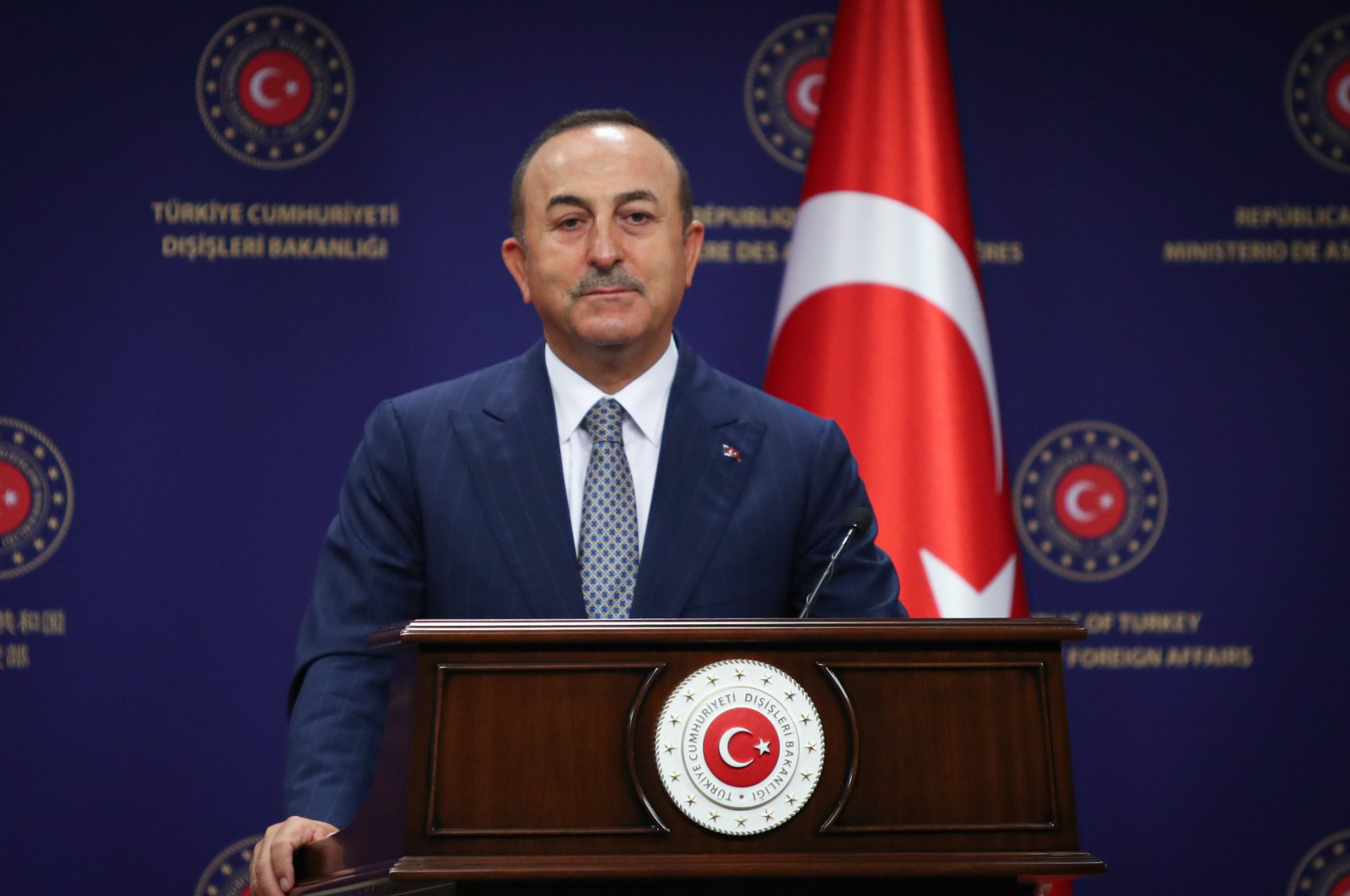 Turkish Foreign Minister Mevlüt Çavuşoğlu speaks at a joint press conference with EU Minister for Foreign Affairs Josep Borrell, July 14, 2020. (AA)