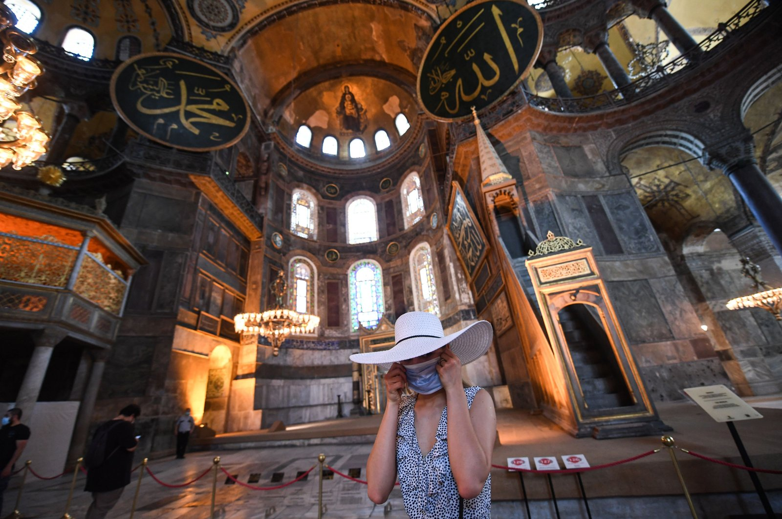 A tourist visits the inside of Hagia Sophia in Istanbul, July 10, 2020. (AP)