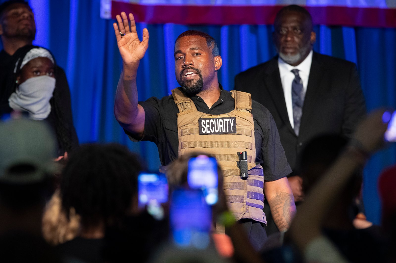 Kanye West makes his first presidential campaign appearance, North Charleston, South Carolina, U.S., July 19, 2020. (AP Photo)