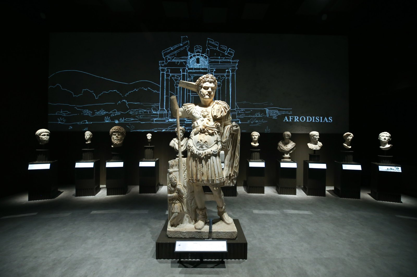 Ancient sculptures at the Istanbul Airport Museum, Istanbul, July 17, 2020. (AA PHOTO)