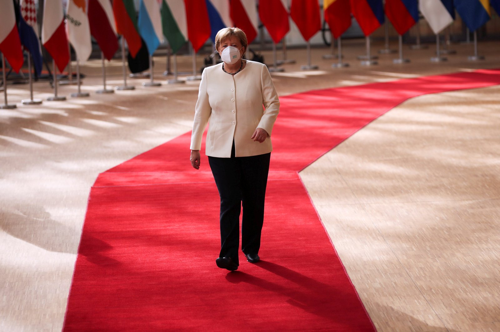 German Chancellor Angela Merkel arrives for the first face-to-face EU summit since the coronavirus outbreak, Brussels, Belgium, July 19, 2020. (Reuters Photo)