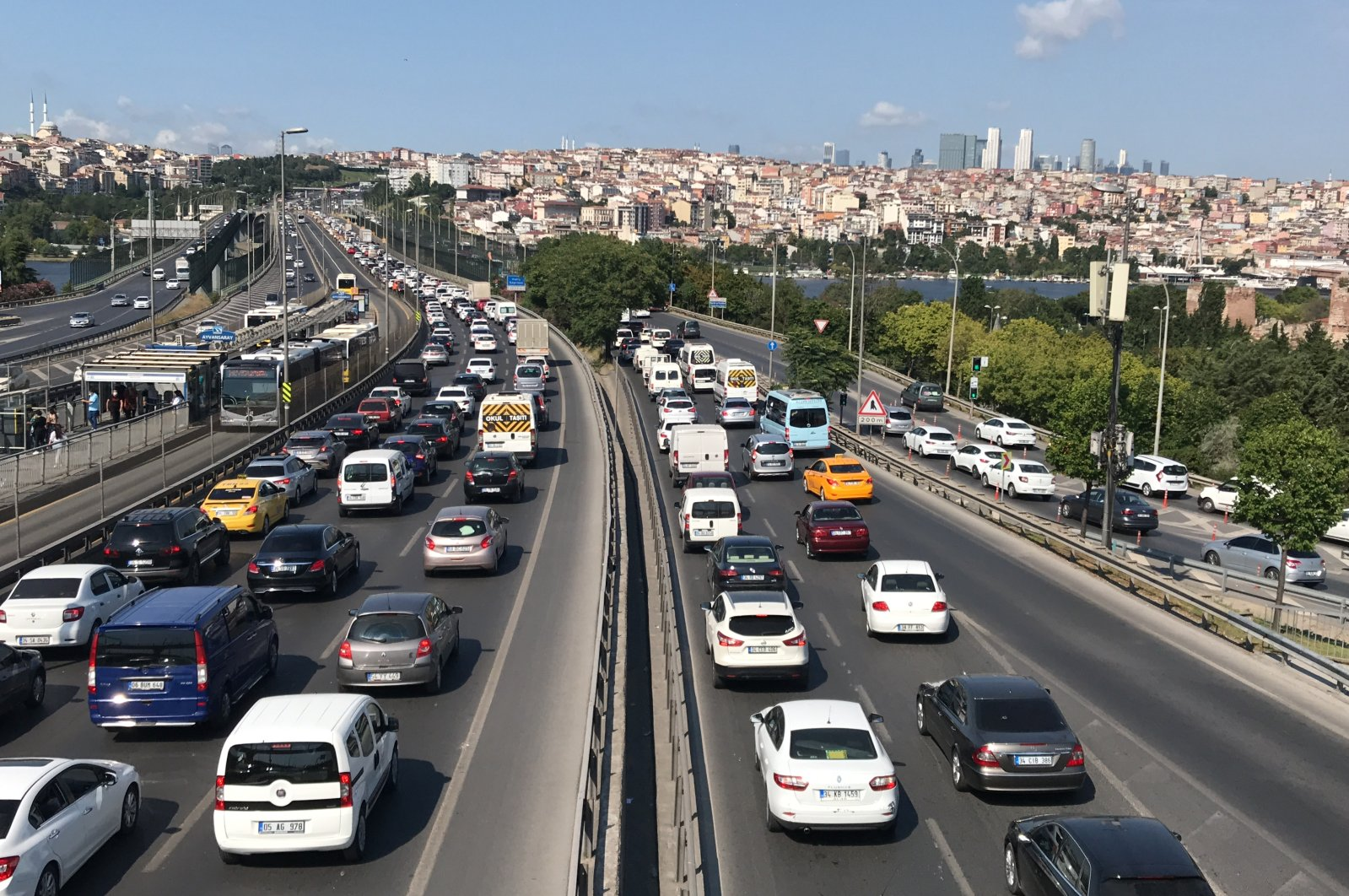Cars are seen on a highway near the Haliç Bridge in Istanbul, July 18, 2020. (AA Photo)