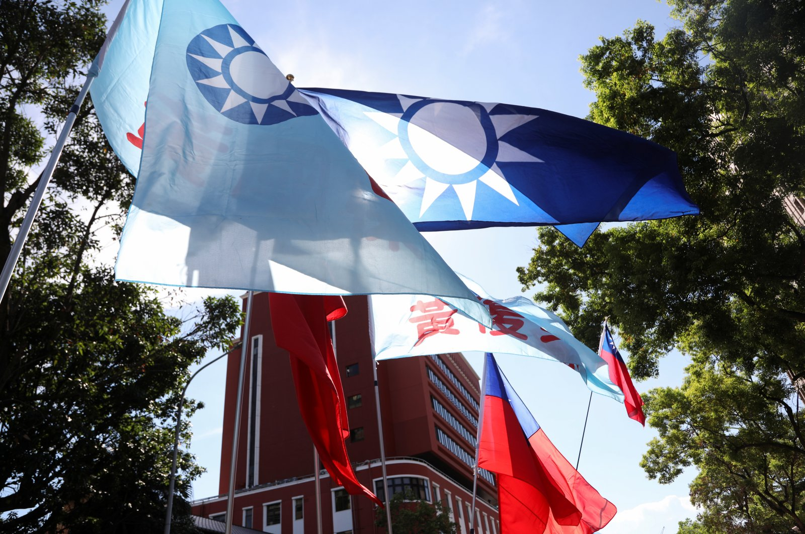 A Taiwan flag waves as people protest against the nomination of Chen Chu to head the Control Yuan, an independent government watchdog, outside the parliament building in Taipei, Taiwan, July 17, 2020. (Reuters Photo)