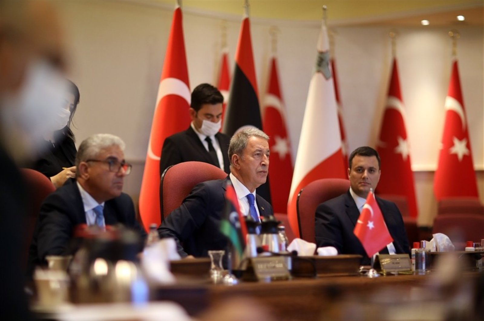 Turkey's defense minister Hulusi Akar (C) holds a trilateral meeting with Libya's interior minister Fathi Bashagha (L) and the Maltese minister of home affairs and national security Byron Camilleri (R), in Ankara, July 20, 2020. (IHA)