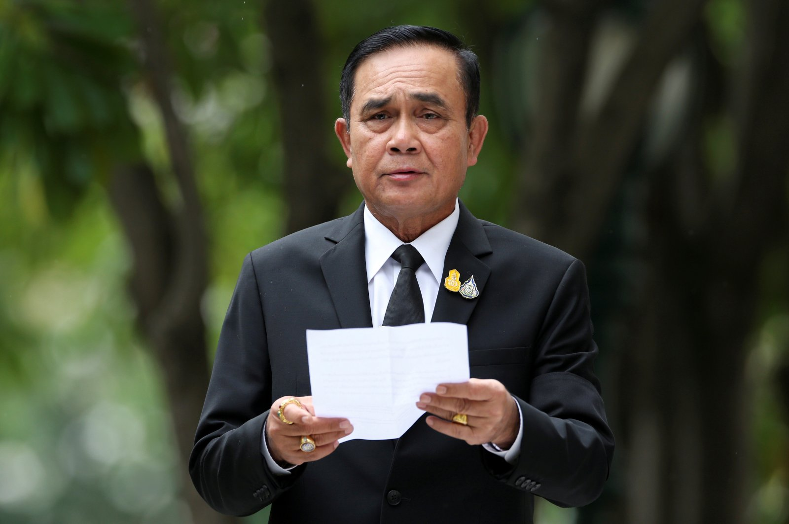 Thailand's Prime Minister Prayuth Chan-ocha speaks to media members at the Government House in Bangkok, Thailand, June 6, 2019. (Reuters Photo)