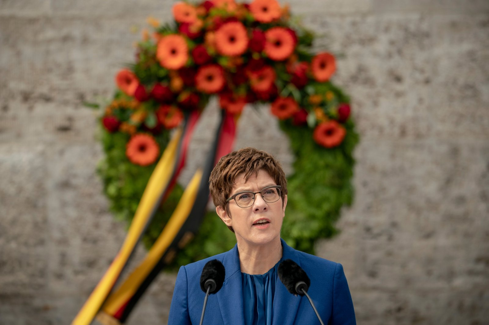 Annegret Kramp-Karrenbauer, German minister of defense, delivers a speech at the Ploetzense Lake Memorial in memory of those murdered in the resistance against the National Socialist tyranny in Berlin, Germany, July 20, 2020. (AP Photo)