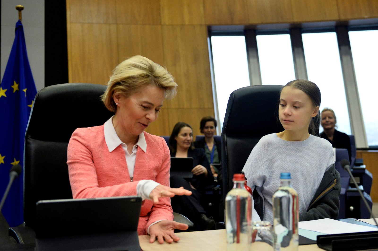European Commission President Ursula Von der Leyen reacts as she attends a meeting with Swedish climate activist Greta Thunberg and European Commissioners at the European Commission in Brussels, Belgium, March 4, 2020. (Reuters Photo)