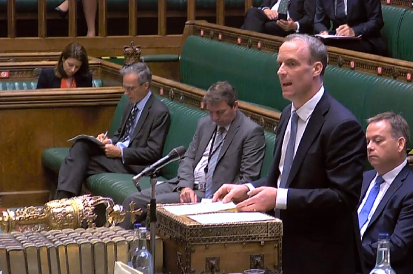 Britain's Foreign Secretary Dominic Raab makes a statement in the House of Commons in London, Britain, July 20, 2020. (AFP Photo)