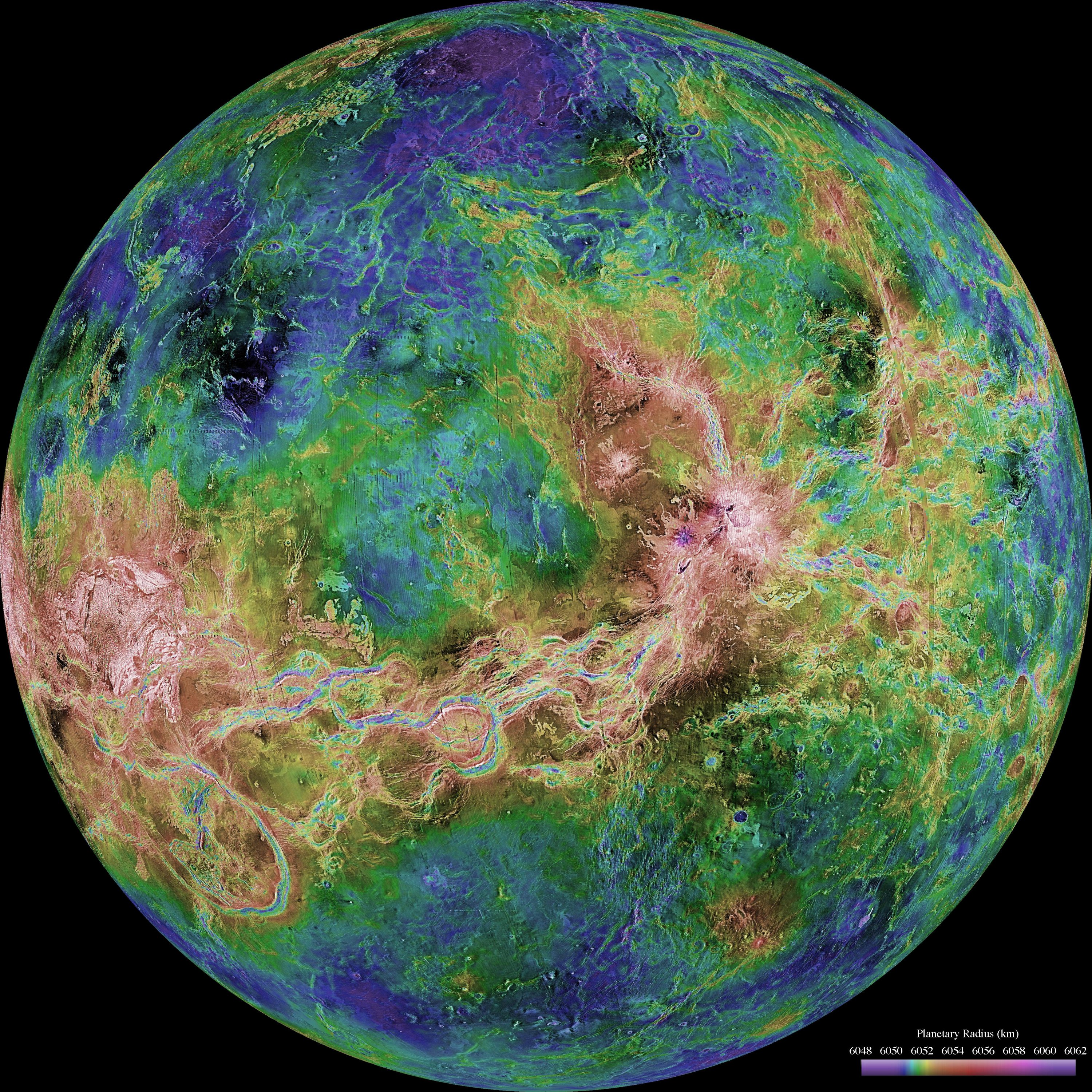 The hemispheric view of Venus is centered at 180 degrees east longitude is seen as published on June 4, 1998. (NASA/JPL/USGS/Handout via REUTERS)