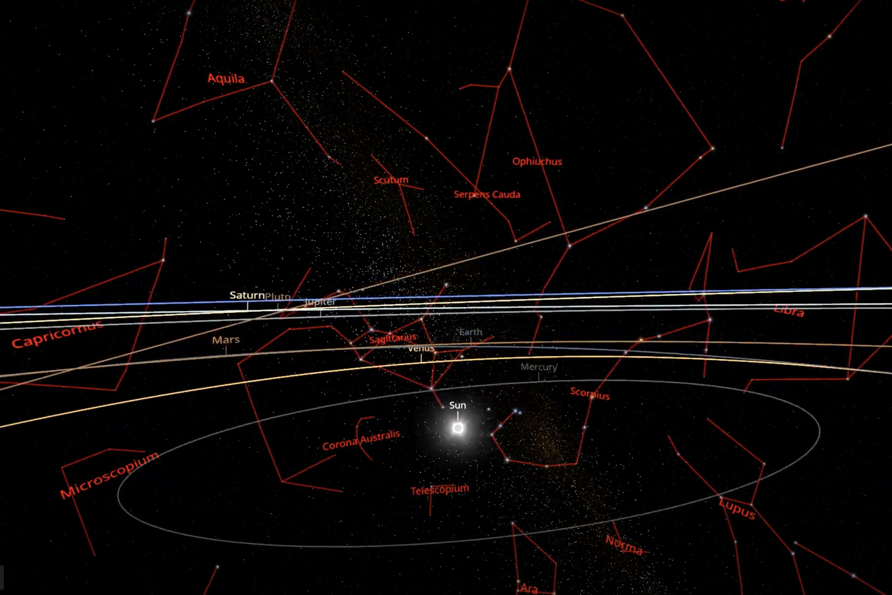 An image grab from a handout computer animation made available on July 19, 2020, by the Swiss Federal Institute of Technology Lausanne (EPFL) shows the Solar System, with stellar constellations. (Photo by Handout / Swiss Federal Institute of Technology Lausanne / AFP)