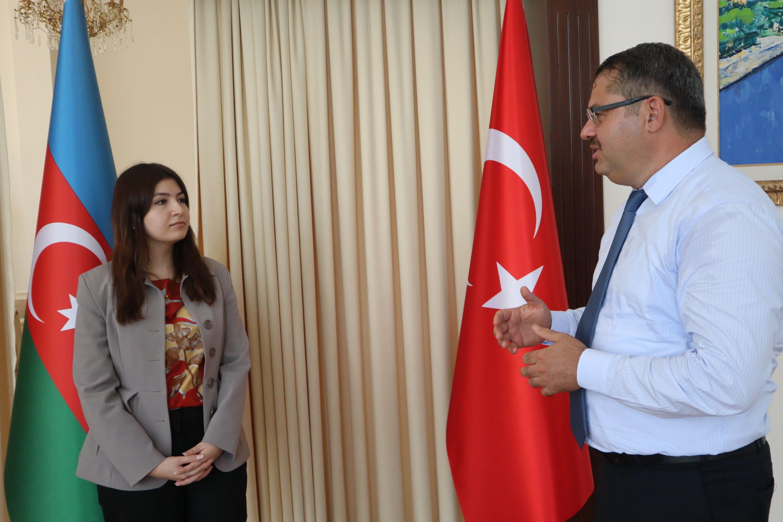 Azerbaijan's Ambassador to Turkey Khazar Ibrahim (R) and Daily Sabah's Dilara Aslan during an interview on border clashes in the Caucasus, July 20, 2020 (Daily Sabah)