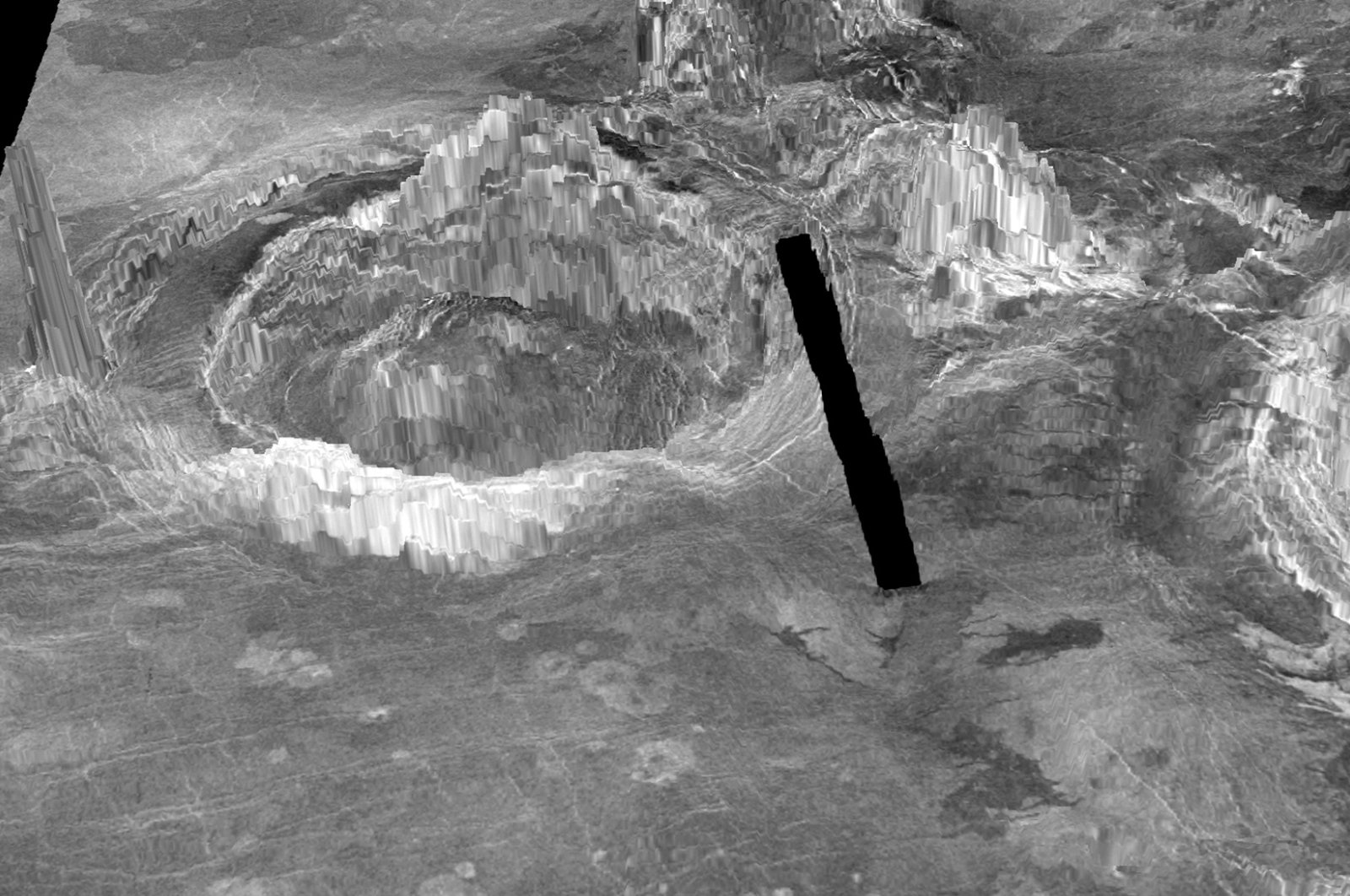 Two coronae are observed on the surface of Venus in a 3-D rendition provided to Reuters on July 20, 2020. The black line represents a gap in data. (Laurent Montesi/University of Maryland/Handout via Reuters)