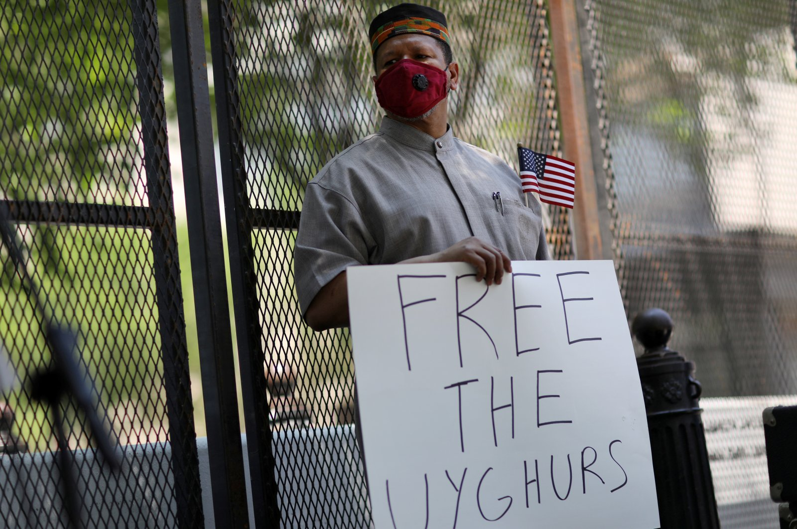Imam Talib Shareef waits to speak as he gathers with others near the White House to call on the U.S. government to respond to China's alleged abuses of a Muslim ethnic minority called the Uighurs, near the White House in Washington, U.S. July 3, 2020. (Reuters Photo)