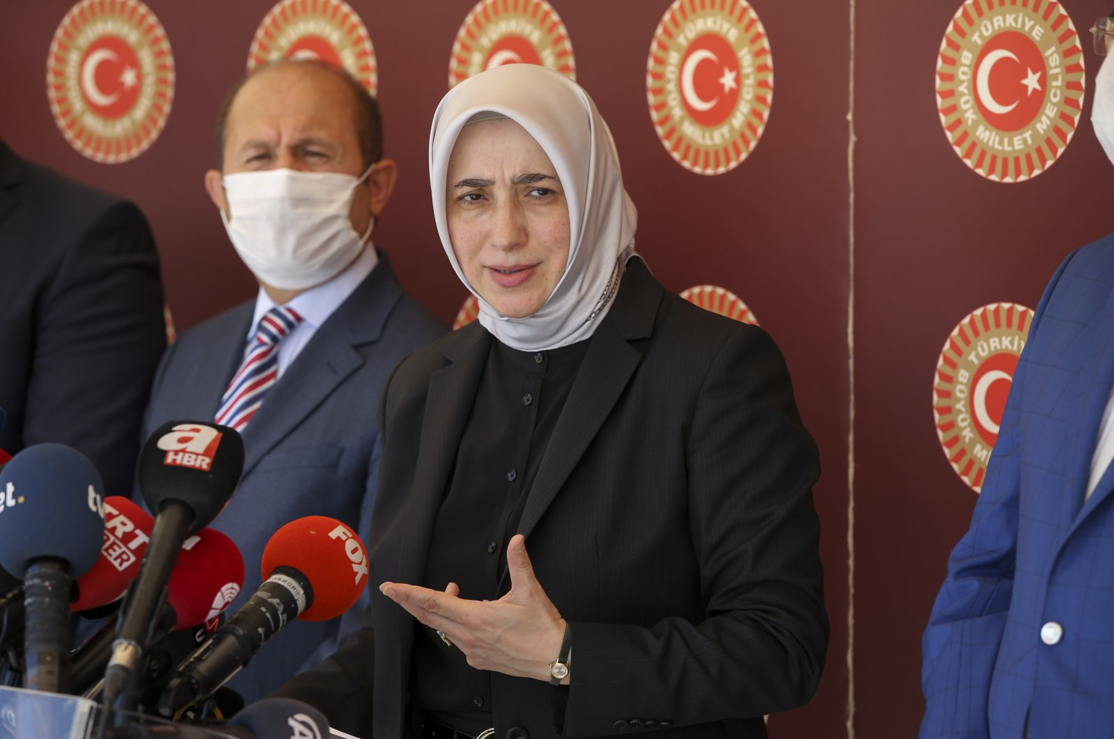 Özlem Zengin, the vice-chair of the ruling Justice and Development Party (AK Party) Parliamentary Group, during a press conference at the parliament in capital Ankara, July 21, 2020. (AA Photo)