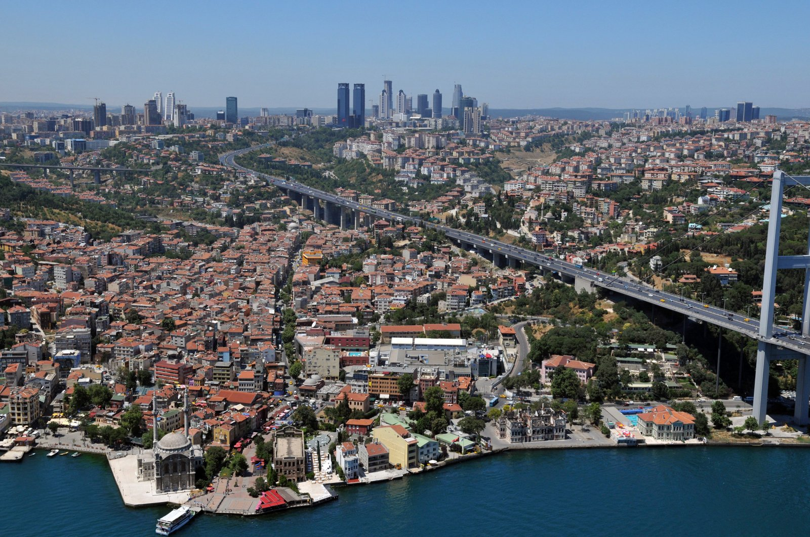 A general view of the July 15 Martyrs Bridge, formerly known as the Bosporus Bridge, and surrounding buildings, Istanbul, Turkey, July 16, 2020. (AA Photo)