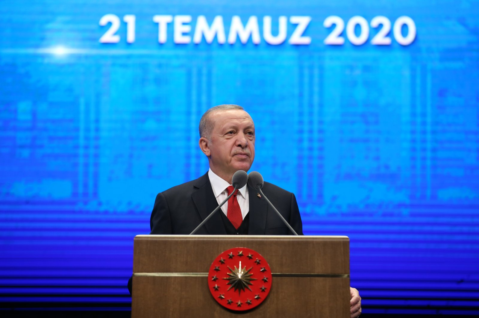 President Recep Tayyip Erdoğan speaks during the 2-Year Presidential Government System Evaluation Meeting at the Presidential Complex in the capital Ankara, July 21, 2020. (AA Photo)