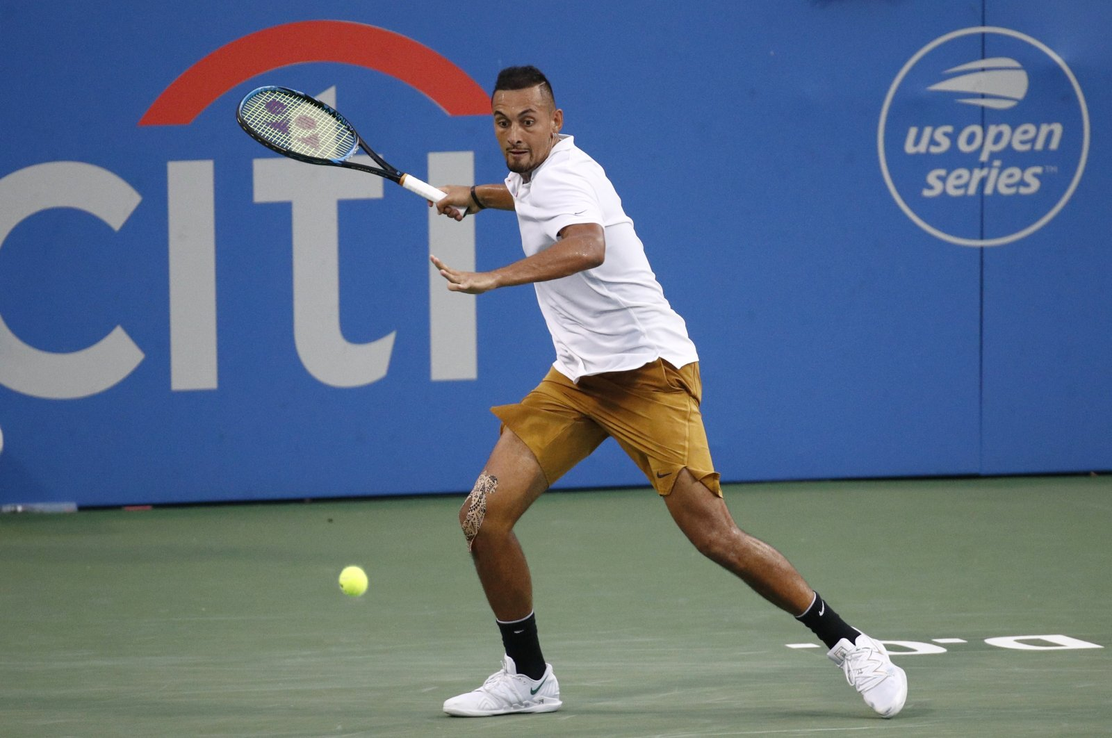 Nick Kyrgios during the Citi Open in Washington, U.S., Aug. 3, 2019. (AP Photo)