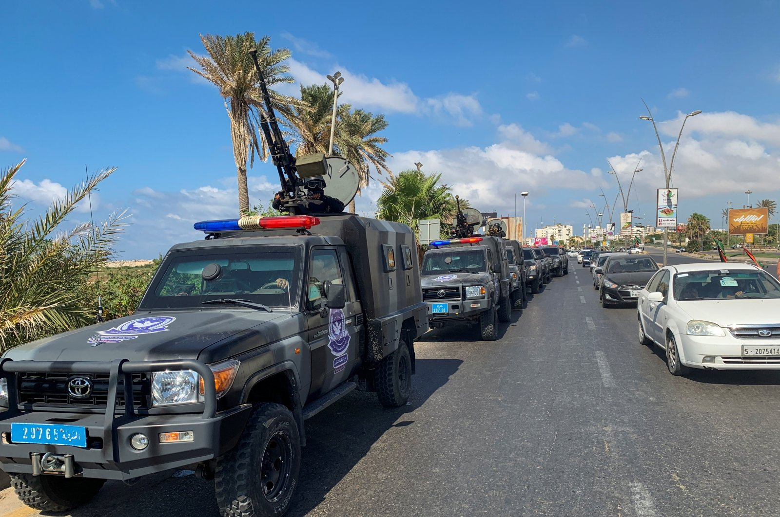 Security forces in military vehicles during a security deployment in Tripoli, Libya, July 20, 2020. (Reuters Photo)