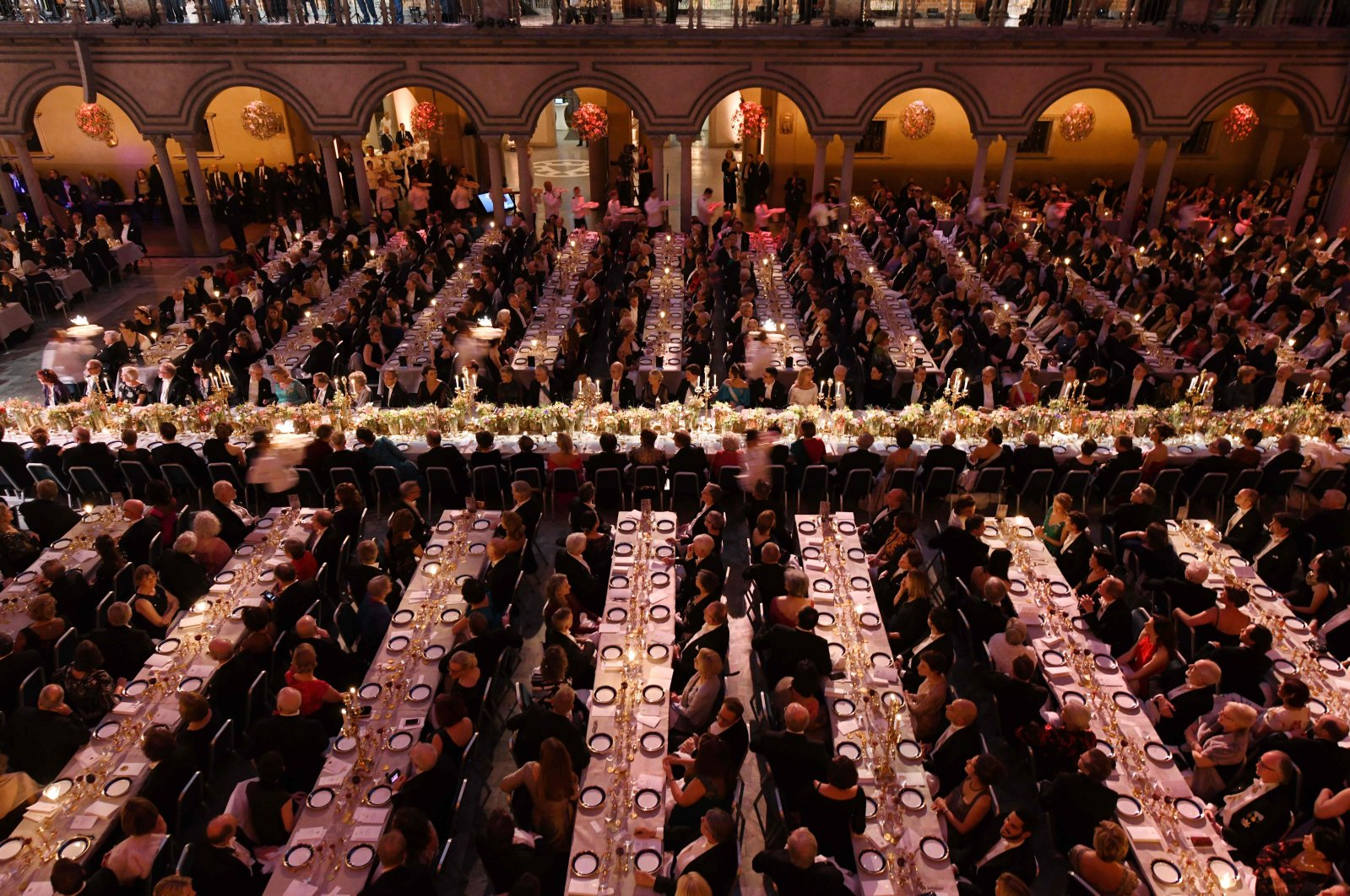 This file photo taken on December 10, 2019 shows guests waiting for the desserts during royal banquet to honour the laureates of the Nobel Prize 2019 following the Award ceremony in Stockholm, Sweden. (AFP Photo)