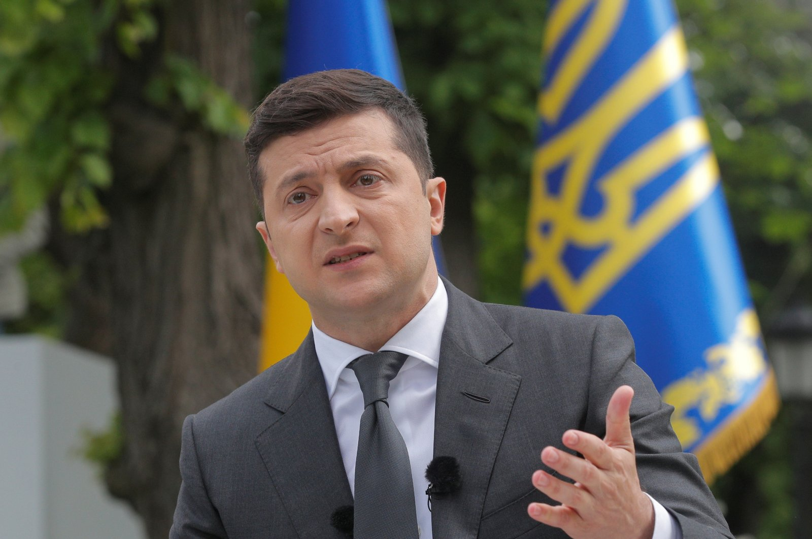 Ukrainian President Volodymyr Zelenskiy gestures during an open-air news conference, one year after his inauguration, amid the COVID-19 outbreak, Kyiv, Ukraine, May 20, 2020. (Reuters Photo)