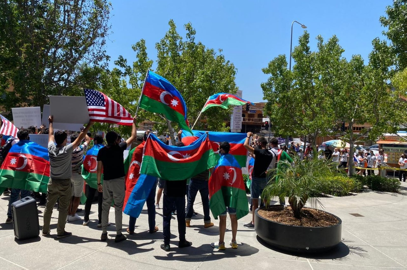 Azerbaijanis during a protest in Los Angeles, California, U.S., July 22, 2020 (AA Photo)