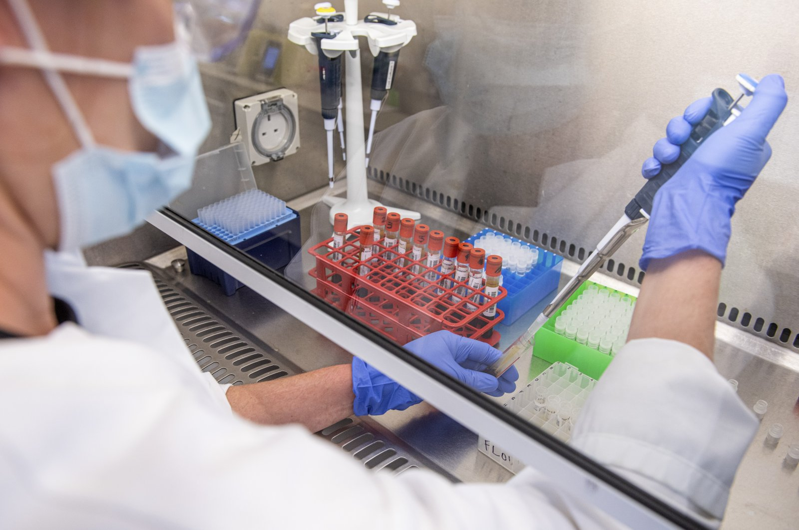 Samples from coronavirus vaccine trials are handled inside the Oxford Vaccine Group laboratory in Oxford, England, June 25, 2020, in this handout photo released by the University of Oxford. (AP Photo)