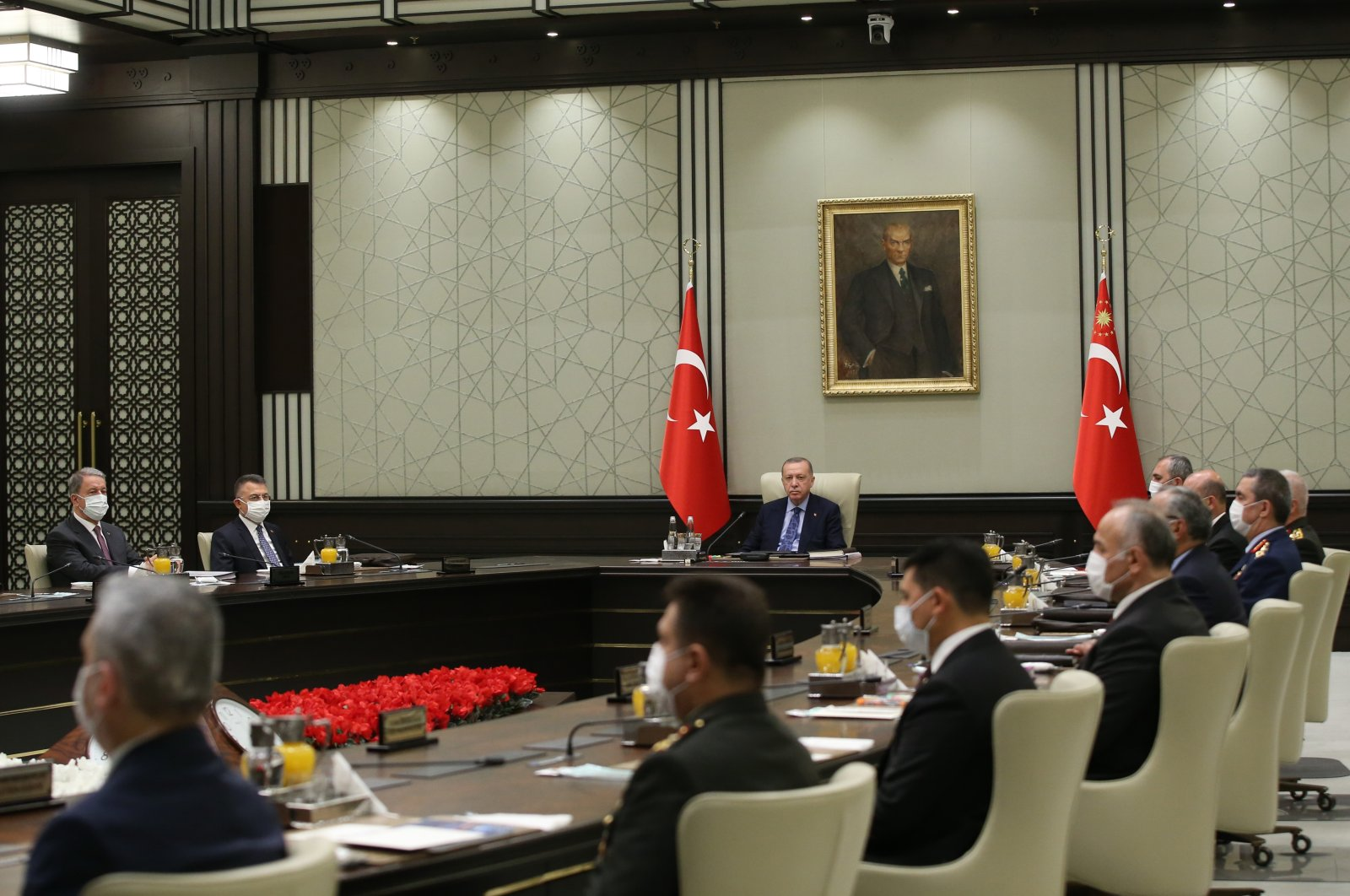President Recep Tayyip Erdoğan and Ministers during the MGK meeting in Ankara's Presidential Complex, July 22, 2020 (AA Photo)
