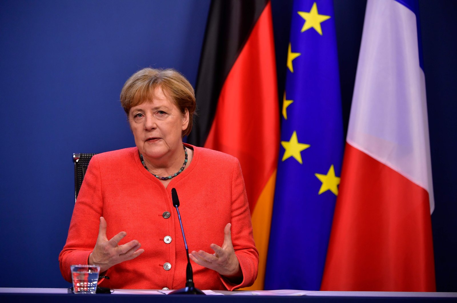 German Chancellor Angela Merkel speaks at the end of the European summit at the EU headquarters, Brussels, July 21, 2020. (AFP Photo)