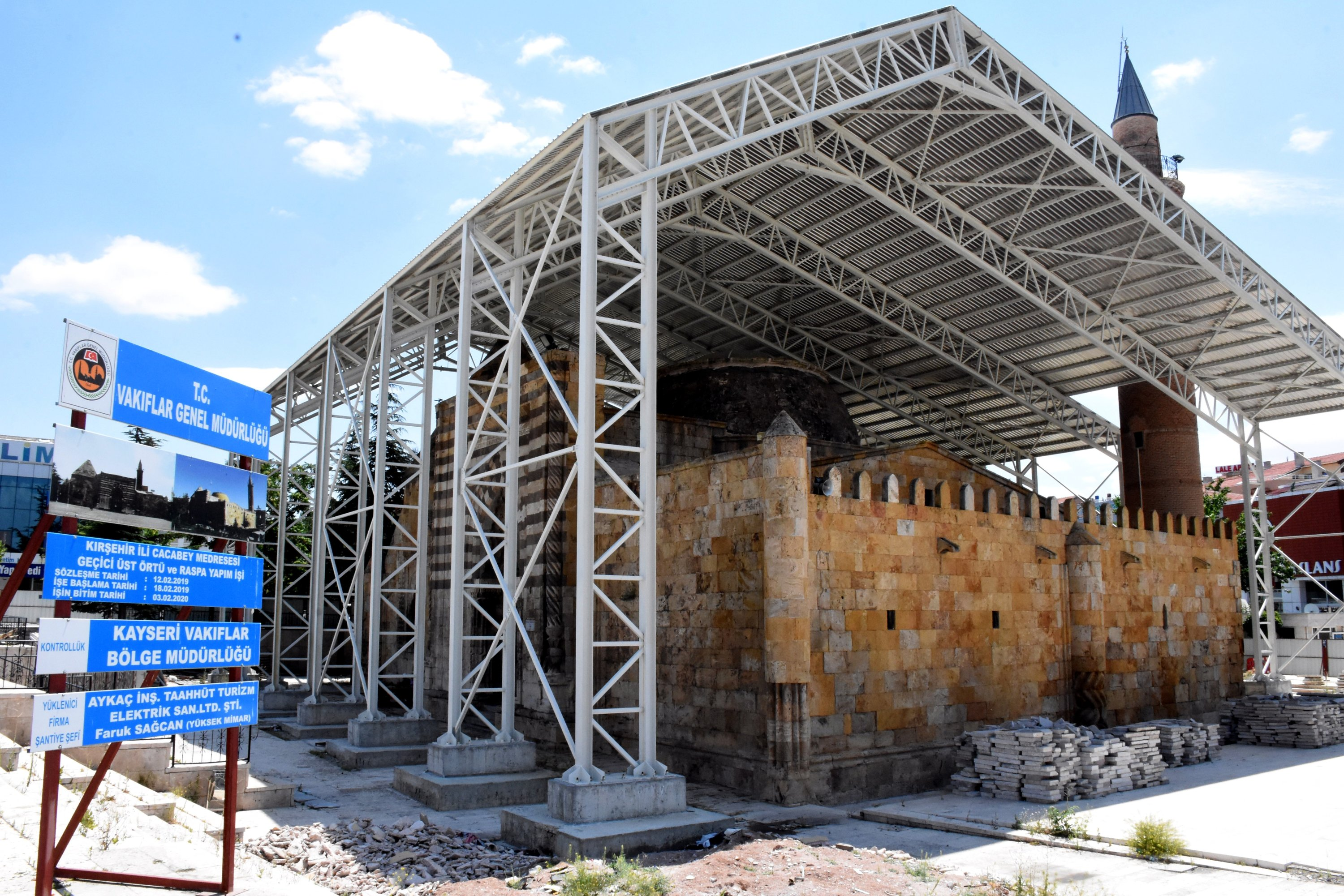 A view from the restoration work at Cacabey Mosque, Kırşehir, central Turkey, July 21, 2020. (AA PHOTO)