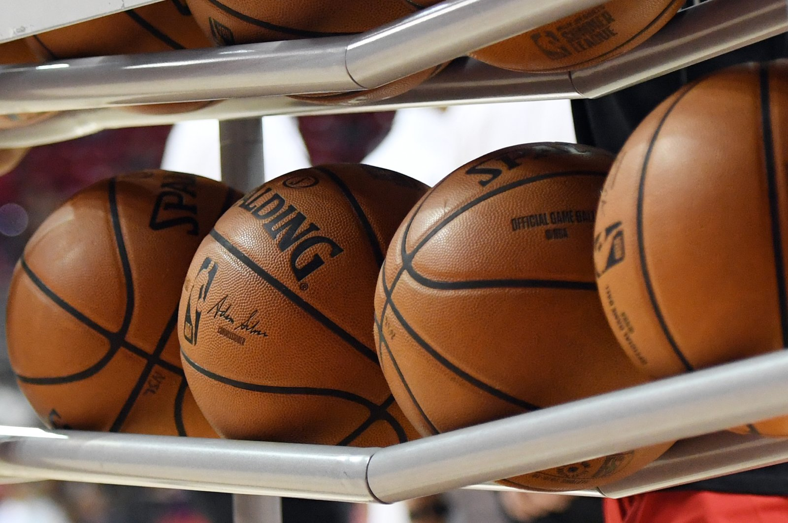 Basketballs lay in a ball rack before a game between the Washington Wizards and the New Orleans Pelicans during the 2019 NBA Summer League at the Thomas & Mack Center in Las Vegas, Nevada, U.S., July 5, 2019. (AFP Photo)