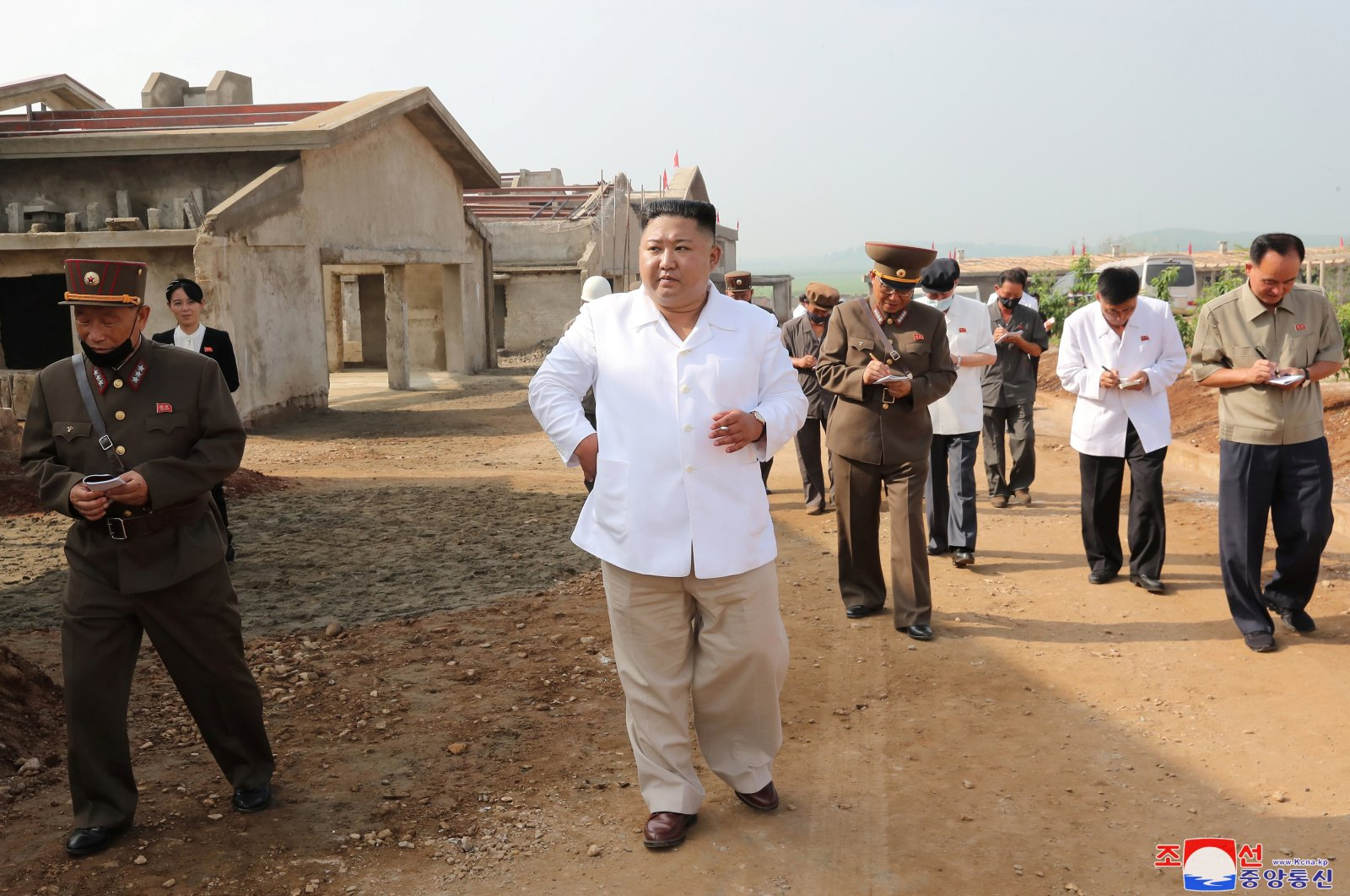 Supreme Leader Kim Jong Un gives field guidance to Kwangchon Chicken Farm under construction in this undated photo released on July 19, 2020, by North Korean Central News Agency (KCNA) in Pyongyang. (KCNA Photo via Reuters)